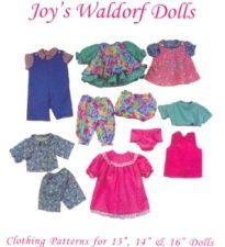 """13""""/14""""/16"""" Doll Clothes Patterns ~ Joy's Waldorf Dolls  $10.00    Create an entire wardrobe for your doll. Included are: dress, pinafore, pantaloons, panties, shorts, shortalls, overalls, jumper, blouse, shirt, t-shirt, nightgown, diaper and pajamas- for all three sized dolls!"""