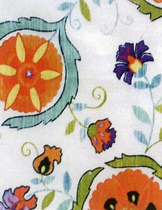 Suzanne Kasler Fabric. Love the blue and orange!