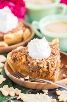 Pecan Pumpkin Pie is the ultimate mashup of classic Thanksgiving desserts! A luscious layer of pumpkin pie and a gooey layer of pecan pie! Pumpkin Pecan Pie, Pumpkin Pie Recipes, Baked Pumpkin, Pumpkin Dessert, Bourbon Pecan Pie, No Bake Pumpkin Cheesecake, Sweet Tarts, Thanksgiving Desserts, Lemon Recipes