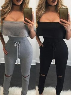 44c63535720 Sexy Fold-over Off Shoulder Drawstring Cut Out Knee Jumpsuit