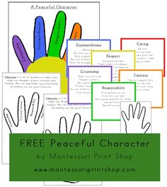Peaceful Character - Free Montessori Peace & Culture Materials from Montessori Print Shop