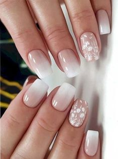 Ombre nails are everywhere these days. Ombre nails are eye-catching and personalized, and can be subtle as you want. I like a soft pastel ombre fade that is suitable for everyday use or glitter ombre nails for special occasions such as weddings. Lace Nail Design, Wedding Nails Design, Ombre Nail Designs, Nail Designs Spring, Nail Art Designs, Nail Wedding, Bridal Nail Art, Wedding Nails For Bride, Lilac Wedding