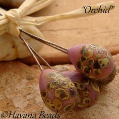 ORCHID  Fossilized Headpins  Set of 4 Handmade by HavanaBeads, $12.00