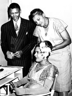 Billie Holiday Husband | Billie Holiday with her husband Joe Guy and hairdresser during the ...