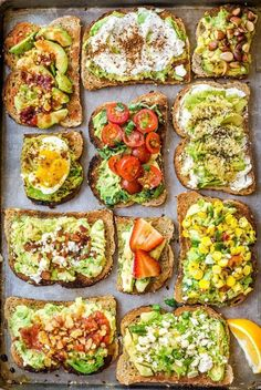 11 Easy Ways to Fancy Up Your Avocado Toast is part of Food   What are your favorite ways to top avocado toast  Play our Recipe Roulette to help you discover something delightful and new  -  #healthysnacks Lunch Snacks, Healthy Snacks, Healthy Eating, Healthy Breakfasts, Office Snacks, Nutritious Breakfast, Easy Snacks, Healthy Fats, Vegetarian Recipes