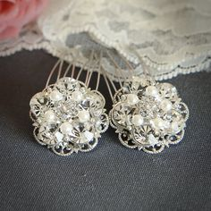 VICKI - Bridal Hair Combs, Vintage Filigree Rhinestone Pearl Comb, Bridal Hair Accessory, Art Deco Crystal Hair Accessories, Set of TWO. $35.95, via Etsy.