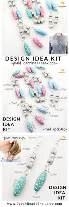 Design Idea Kit: Plaid Chain Jewelry Necklace And Earrings From Czech Glass Tube Beads| SAVE it!| www.CzechBeadsExclusive.com #czechbeadsexcluisve #czechbeads