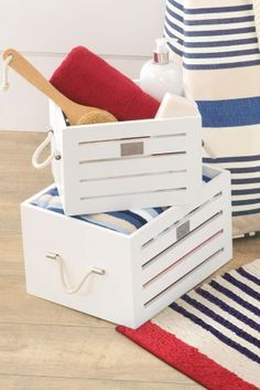Set Of 2 White Wooden Storage Crates from Next