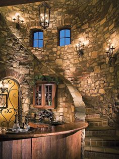 Custom Tuscan Staircase with Bar.