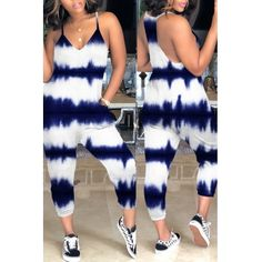 Cheap Jumpsuit Lovely Casual Tie-dye Dark Blue Loose One-piece Jumpsui Dressy Casual Outfits, Casual Tie, Cute Outfits, Denim Fashion, Fashion Outfits, Diy Summer Clothes, Blue Jumpsuits, Wholesale Clothing, Shoes Wholesale