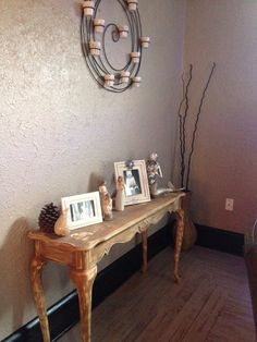 This table was ugly before it was sanded and ruffed up.. I love it now  #driftwood floors #greigh walls