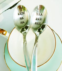 Vintage hand stamped teaspoons Brew ha ha by OldsCoolDesigns, $26.00