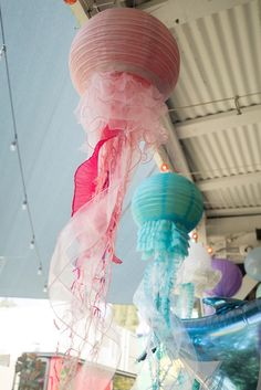 Paper lantern jellyfish from an Ombre Under the Sea + Ocean Birthday Party on Kara's Party Ideas | KarasPartyIdeas.com (21)