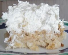 EZ Pineapple Coconut cake. Mix white cake mix with 1 can crushed pineapples. Bake to package directions. Stir the coconut into a container of Cool Whip, spread frosting on cooled cake.