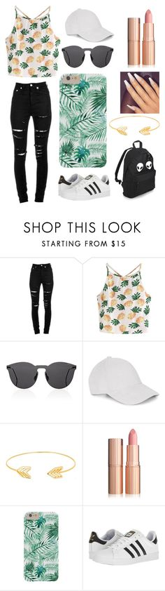 """"""""""" by hannahp327 on Polyvore featuring Yves Saint Laurent, WithChic, Illesteva, Le Amonie, Lord & Taylor and adidas"""