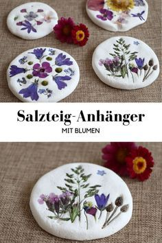 DIY: Making salt dough pendants with flowers is fun for both children and adults. The salt dough ideas are easy to implement. The salt dough. Pot Mason Diy, Mason Jars, Diy And Crafts, Crafts For Kids, Upcycled Crafts, Kids Diy, Summer Crafts, Creative Crafts, Easter Crafts