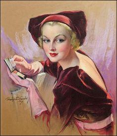 Carole Lombard holding compact Cosmopolitan magazine cover art 1955 Pastel x by Bradshaw Crandell Pin Up Vintage, Art Vintage, Moda Vintage, Vintage Images, Vintage Ladies, Victorian Ladies, Vintage Prints, Carole Lombard, Art Illustration Vintage