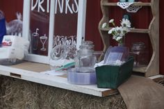 Drink and snacks table for country wedding