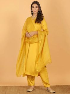 The Loom- An online Shop for Exclusive Handcrafted products comprising of Apparel, Sarees, Jewelry, Footwears & Home decor. Casual Indian Fashion, Neck Designs For Suits, Kurta With Pants, Silk Suit, Indian Ethnic Wear, Teal Green, Cotton Silk, Mustard Yellow, Suits For Women