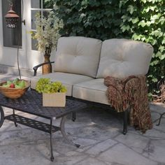 Nothing keeps a conversation going than a calm, cozy place to have it. The Palazetto Collection Milan Cast Aluminum Love Seat and Coffee Table is. Patio Furniture Sets, Outdoor Furniture, Outdoor Decor, Outdoor Sofas, Coffee Table Dimensions, Cozy Place, Love Seat, It Cast, Cushions