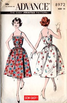 Advance 8972 Misses' Vintage 1950s Wrap Around Sundress Sewing Pattern by DRCRosePatterns on Etsy