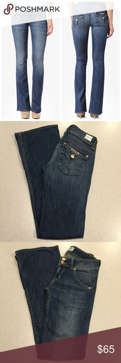"""Hudson Jeans 26X34 Signature Bootcut Hackney! NWT Hudson Jeans Signature boot cut Hackney wash Selling now on Hudsons site! (Modeled pictures are of exact fit and wash) Size 26 34 inch extra long unaltered inseam 15"""" across waist, 7.5"""" rise A pretty medium blue denim New with tags (fabric waist tag) never worn Perfect condition! """"Our best-selling, universally flattering fit""""  All of my items come from a smoke free, pet free home and are authenticity guaranteed. Please ask any questions, no…"""