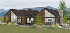 The Tewa is designed in classic Central Otago style but lends itself to any landscape. Two pavillions with sloping ceilings and 2.7m ceiling height are connected by the kitchen, laundry and dining areas which feature floor to ceiling sliders opening to a sheltered courtyard.