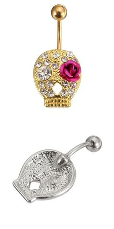 Flower Skull Navel Body Piercing Crystal Belly Bar Ring Women Jewelry In The Mall