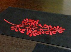 """Red Fern Table Runner, Black Linen Table Runner Red Fern Embroidery 14"""" x 64"""", Wedding Table Linen, Embroidered Table top, Housewarming Gift"""