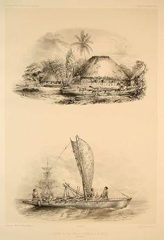 """""""Cases de naturels, pirogues à la voile"""". Atlas pittoresque, planche 73, Voyage au Pôle Sud et dans l'Océanie sur les corvettes L'Astrolabe et La Zélée, Jules Dumont d'Urville, 1846."""