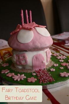 Fairy Toadstool Birthday cake tutorial. Such a sweet birthday cake from @Rainy Day Mum !