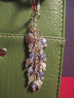 Blue and Clear Crackle Glass Beads Mini Purse Charm / Key Chain by FoxyFundanglesByCori, $5.00