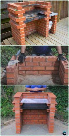 DIY Brick BBQ Grill Instruction [Video] - DIY Backyard Grill Projects Backyard Projects, Backyard Patio, Backyard Landscaping, Garden Projects, Backyard Ideas, Patio Grill, Landscaping Ideas, Design Projects, Pit Bbq