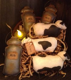Primitive Cow and Milk Can Bowl Fillers via Etsy