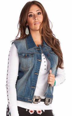 WRANGLER Women's Premium Patch Denim Western Button Vest Size Large  LWV501D  #Wrangler
