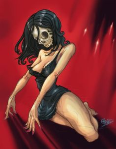 The Living Dead Girl by Mark Sheard Zombie Pin Up, Zombie Art, Bizarre Art, Skull Design, Psychobilly, Illustrations, Gothic Art, Halloween Horror, Skull And Bones