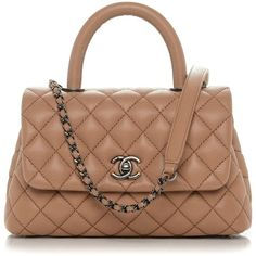 CHANEL Caviar Quilted Mini Coco Handle Flap Camel ❤ liked on Polyvore featuring bags, handbags, tote purses, mini handbags, leather handbags, chanel purse and leather purses