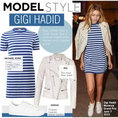 Model Style- Gigi Hadid by kusja on Polyvore featuring adidas Originals, Stealherstyle, celebstyle, gigihadid and offdutystyle