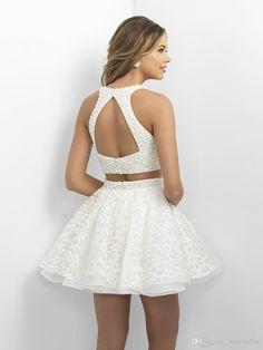 2016 Cuatro nudos Fiesta Vestidos Little White cortos vestidos de baile con las perlas camisa de encaje sin espalda mini vestidos de coctel del cuello Hlater