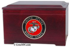 Urns Northwest  - Military Memory Chest, $299.00 (http://urnsnw.com/military-memory-chest/). Made in the USA from solid Oak or Rosewood. Choice of Army, Air Force, Navy, Marine Corps or Fire Department medallion.