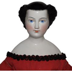 Early German Glazed Porcelain Pressed China Head with Elaborate from joan-lynetteantiquedolls on Ruby Lane