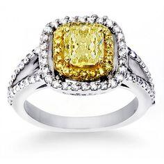 1.87 ct. tw. Fancy Yellow Diamond Engagement Ring