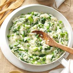 Garden Risotto Recipe -With asparagus, spinach and peas, this simple side adds spectacular flavor and tons of health benefits from green veggies. Add some Parmesan cheese, and you've got one delectable dish! —Kendra Doss, Kansas City, Missouri