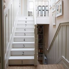 Hamptons style victorian home staircase - perfect for someone like me with OCD counting when climbing the stairs