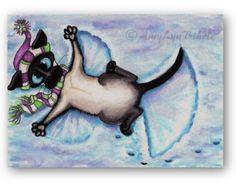 Chat siamois ange de neige l'hiver - tirages d'Art par Bihrle ck213