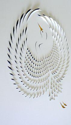 Cut Paper Crane. Beautiful.
