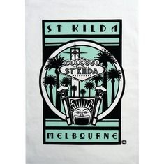 Retro St Kilda luna park tea towel in turquoise