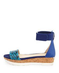 Jimmy Choo Neat Flat Platform Sandal, Turquoise