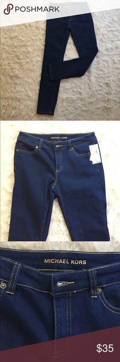 """NWT Michael Kors overdyed indigo stretch denims NWT Michael Kors overdyed indigo skinny stretch denims in a size 2. Inseam is 29"""" and length is almost 38"""". Can fit size 0-4 Michael Kors Jeans Skinny"""