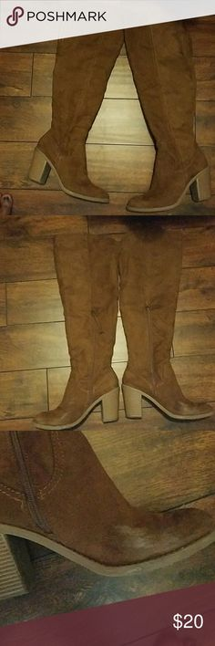 Over the knee suede like boots Brown suede like material. Scuff marks on both right and left inner part of boot. Other than that boots are in good condition. They look great with jeans and big sweater for fall💋🍁🍁🍁 DV by Dolce Vita Shoes Over the Knee Boots